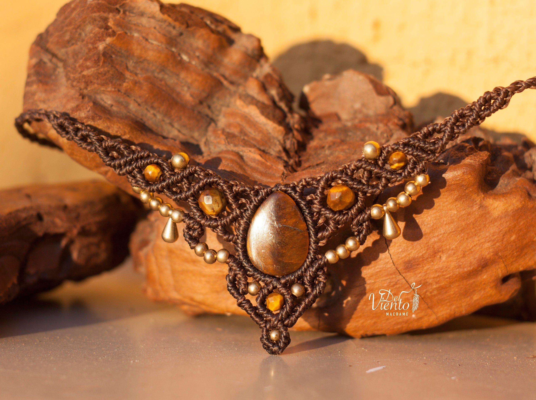 Manipura Macrame Necklace or Tiara with Tiger/'s Eye Necklace or headband macrame with Tiger eye Bohemian jewelry Solar plexus chakra