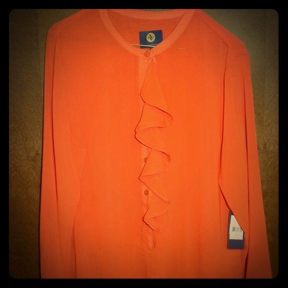 NWT Adrienne Vittadini Long Sleeve Ruffle Blouse L NWT Adrienne Vittadini Long Sleeve Ruffle Blouse Top Shirt Fire Orange Red L $80 Adrienne Vittadini Tops Blouses