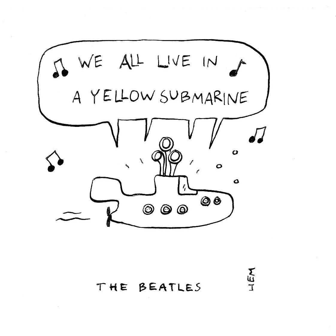 Sketchbook 365 Songs 323 Yellow Submarine Beatles Tattoos Beatles Lyrics Song Lyrics Art