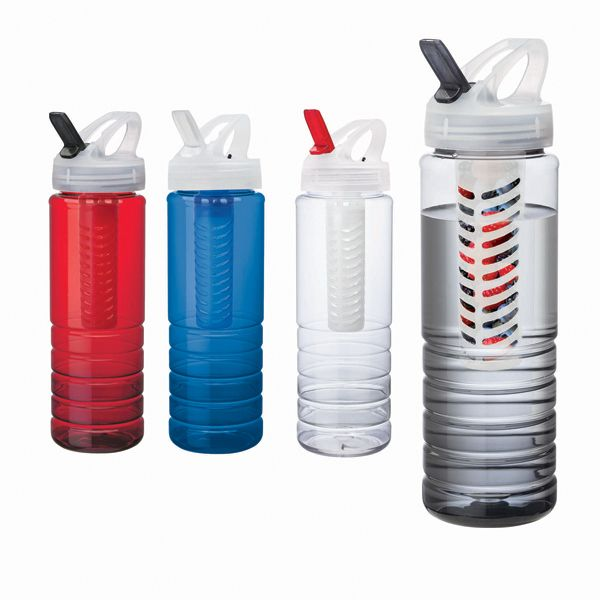 26 oz. sports water bottle is made in the U.S.A. from PET plastic. It features a fruit infuser, grip ridges, an integrated carry handle and a flip spout.