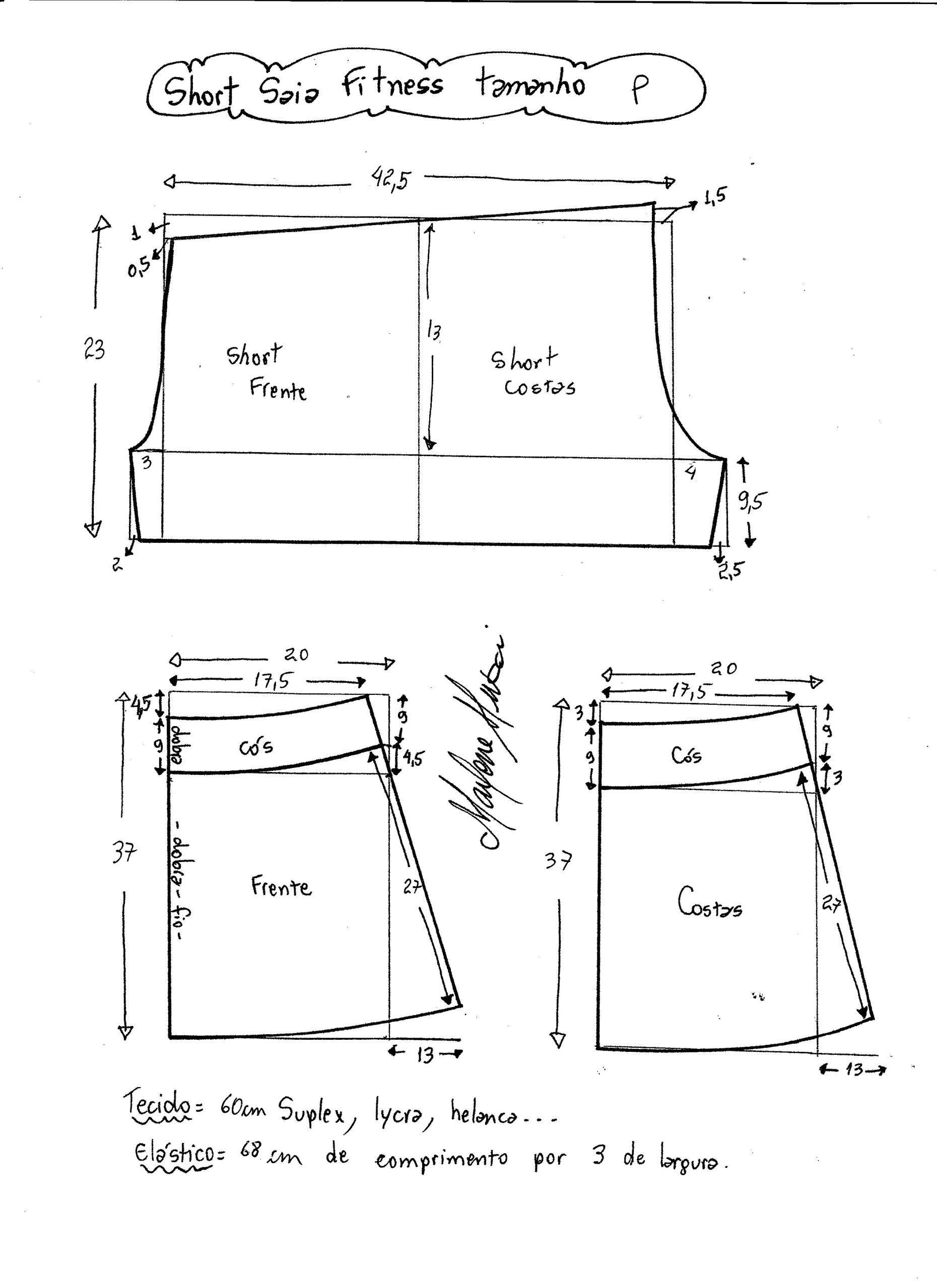 Esquema de modelagem de short saia fitness tamanho P. | pattern ...