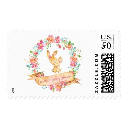 Floral mom and baby girl bunny spring shower postage floral mom and baby girl bunny spring shower postage floral gifts negle Choice Image