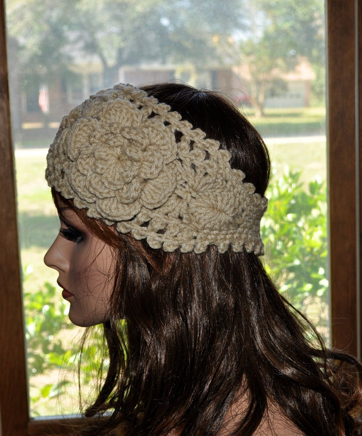 Crochet Ear Warmer Handmade Crochet Headband With Flower Fall And