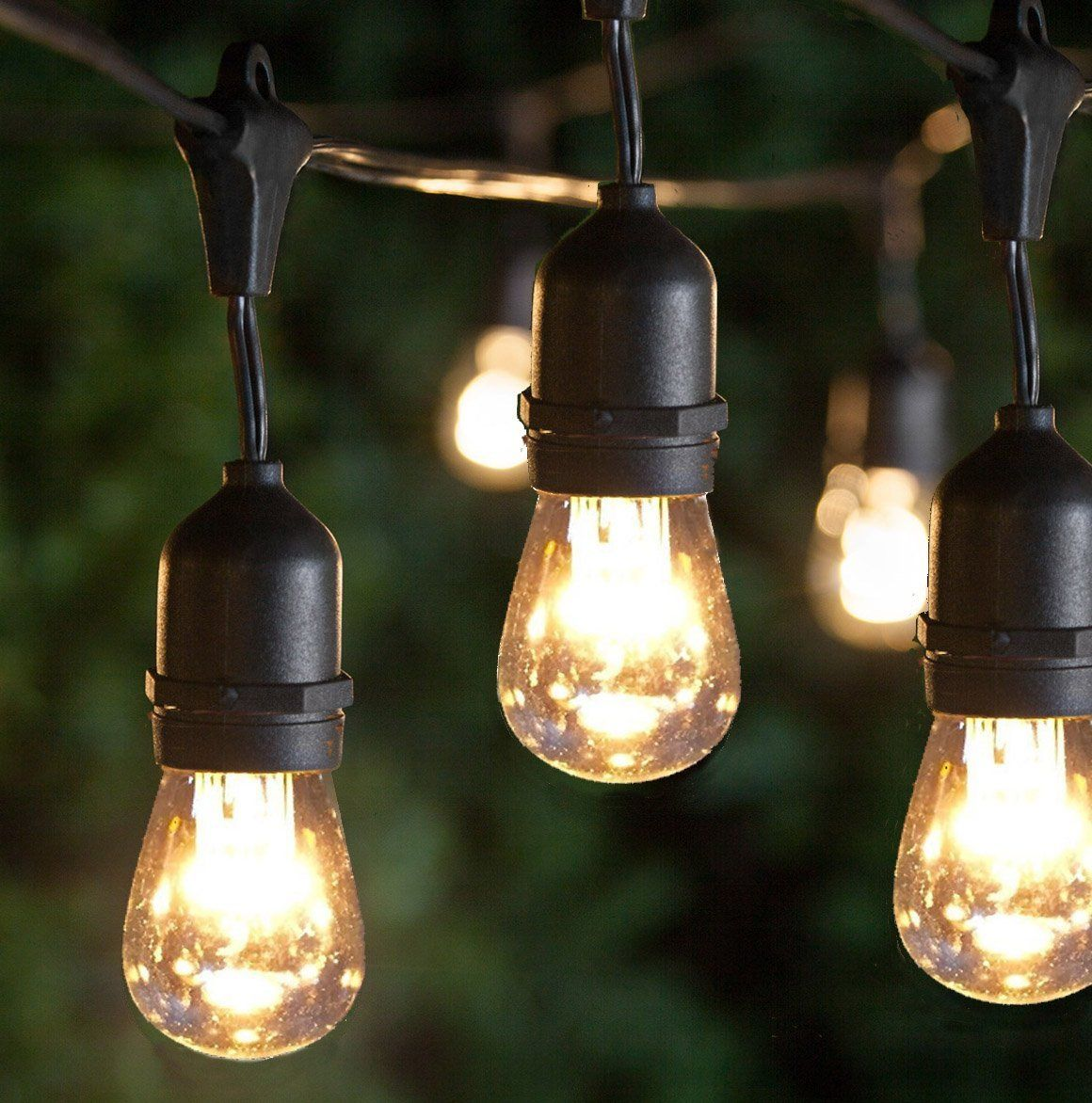 Garden String Lights Classy Outdoor String Lights 48Ft Long Weatherproof 15 E26 Dropped Sockets