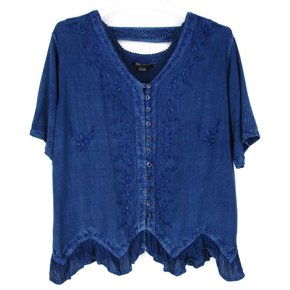 928e7740d79 Womens XL 1X Tunic Top Plus Size Blue Denim Like Embroidered Shirt Gypsy  Boho  Flower  Blouse  Casual