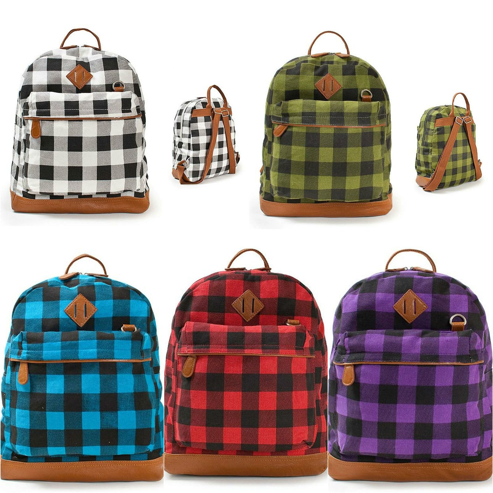 MENS WOMENS Colorful Check Plaid Patterns BACKPACKS SCHOOL BAG
