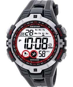 Timex Men's Black and Red Marathon Digital Watch.