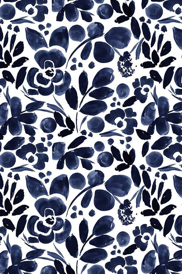 Navy Floral by crystal_walen - Beautiful hand pain... - #background #Beautiful #crystalwalen #FLORAL #Hand #Navy #pain #textiledesign