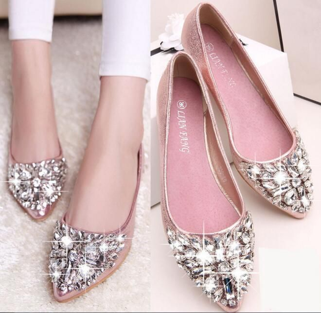 Shoes Woman 2016 New brand Women's Flat Shoes PU leather ladies sandals  Rhinestone pointed toe Flats