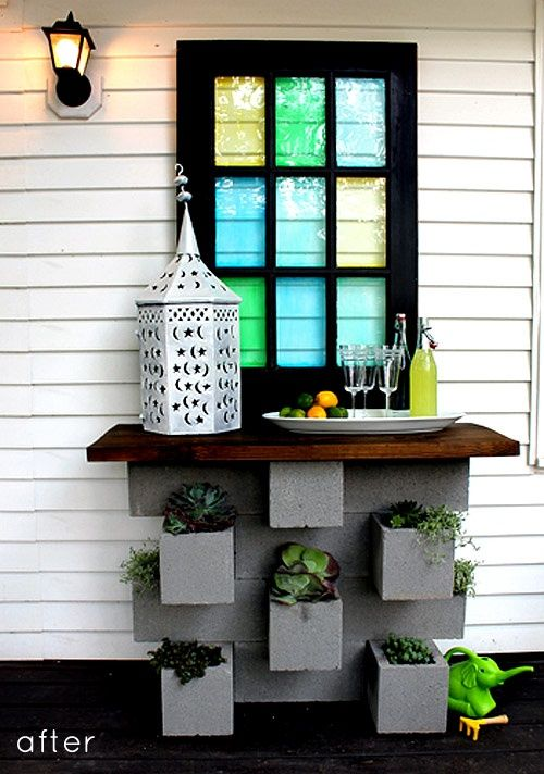 Cinder block planter bar great for under my kitchen for Cinder block plant shelf