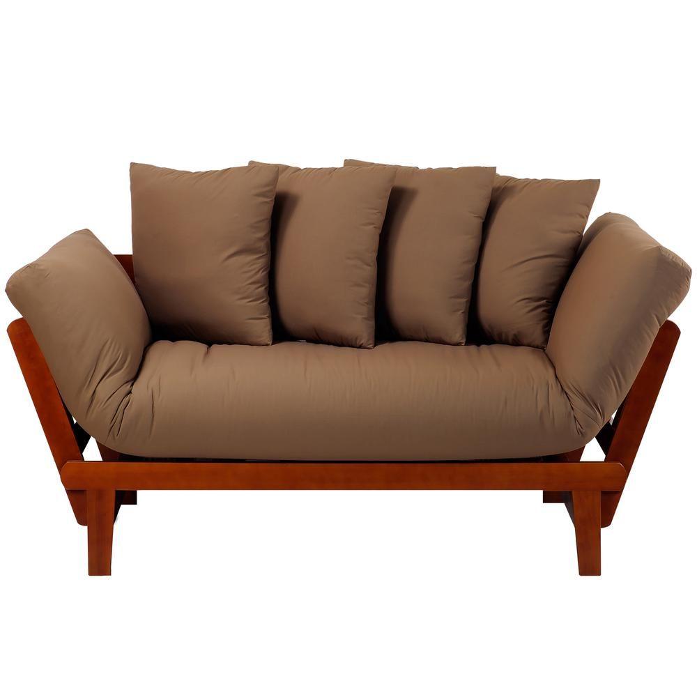 Casual home casual oak frame and khaki fabric lounger sofa