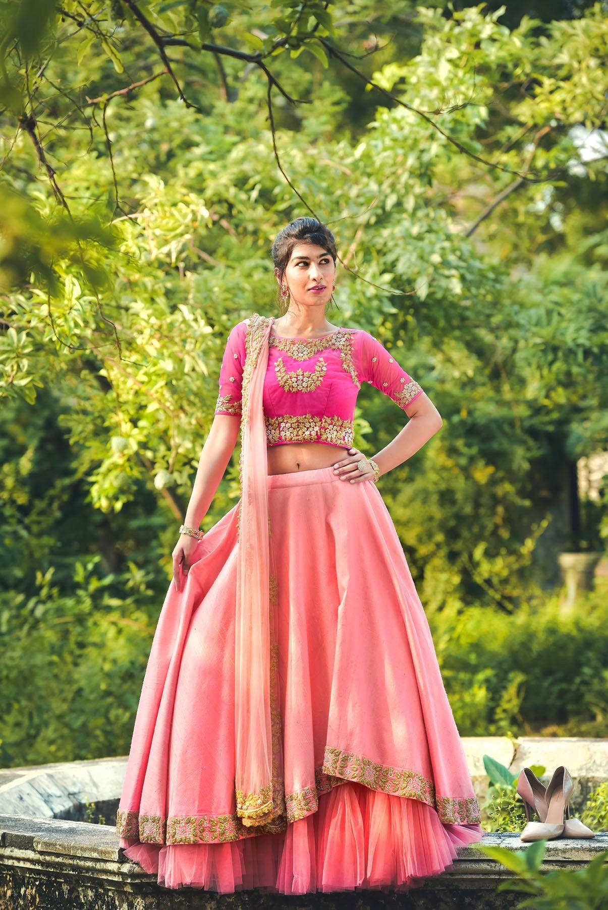 b549a37048 Beautiful bridal pink lehenga set by Puwin Couture Surat #Frugal2Fab