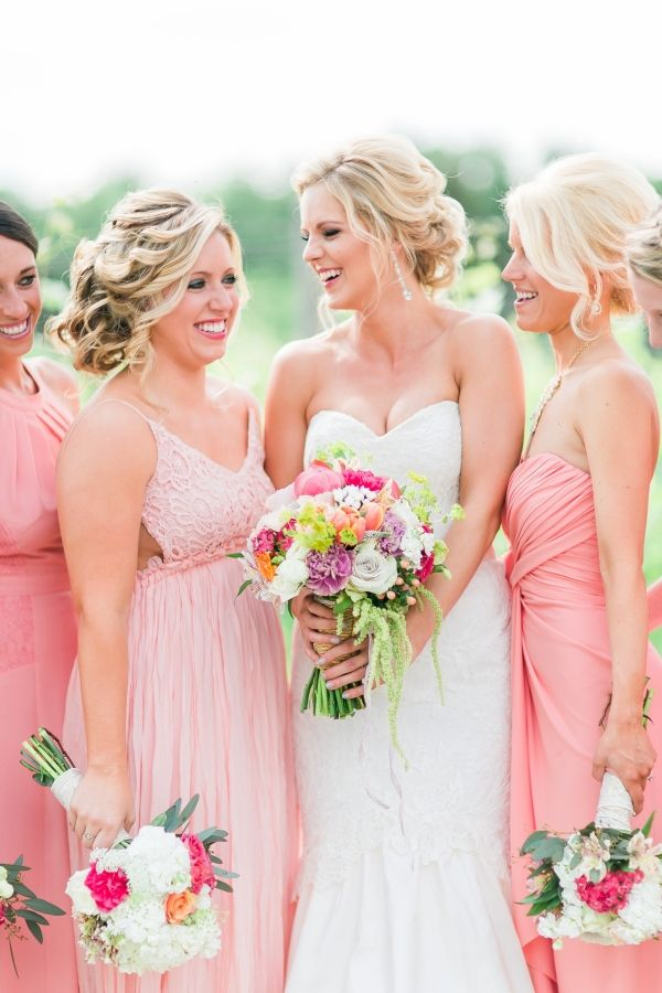 Pink And Gold Elegant Country Wedding | Coral bridesmaid dresses ...