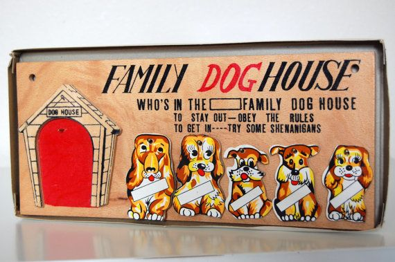 Vintage Retro Family Dog House Wall Plaque Mid By Sacklunchtime