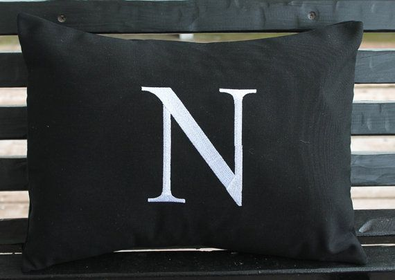 Amazing Monogrammed Outdoor Pillow Cover In Black By DesignsByThem On Etsy, $26.75