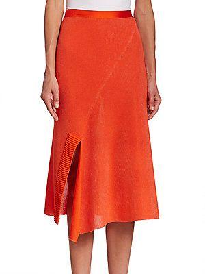 Victoria Beckham Solid Cotton-Blend Skirt - Bright Orange