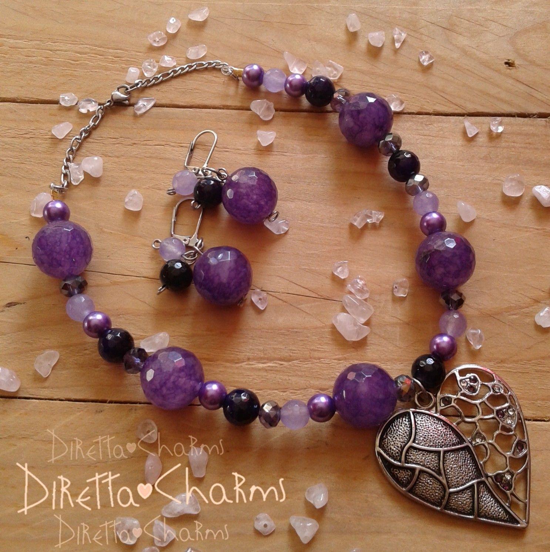 Set en piedras naturales gata morada con cuarzo lila for Piedras naturales