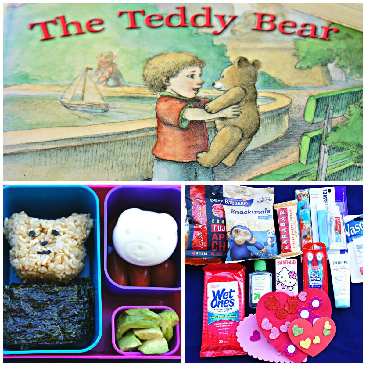 Book Inspired Bento Box Lunch and care package. The Teddy Bear by David McPhail-a lovely idea maybe for a teddy bear picnic?
