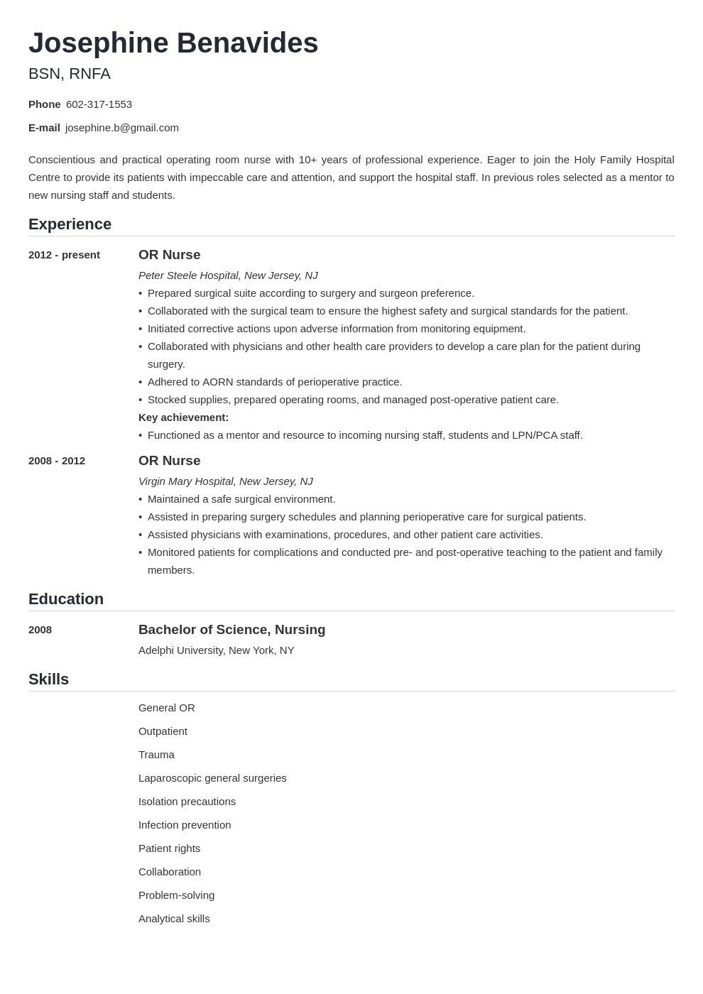 operating room nurse resume example template nanica in