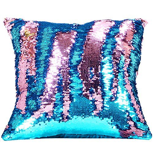 Wonder4 Reversible Sequin Pillow Case Mermaid Pillow Case Pink Laker Blue Sequins 16 X 16 Magic Gift Funny Pillow Pillows Sequin Pillow Throw Pillows