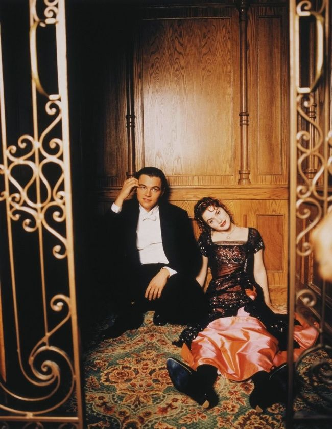 Leonardo DiСaprio and Kate Winslet on the film set of Titanic ...