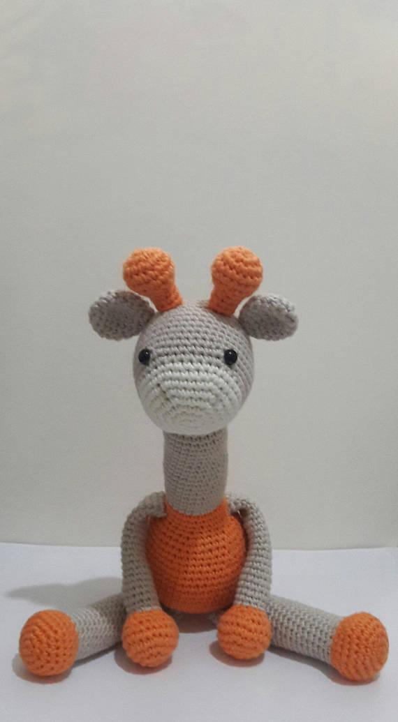 Amigurumi Giraffe Handmade Stuffed Toys Gift for Nursery decor Woodland animals toy for Preemie kids gift Crochet Giraffe amigurumi toys