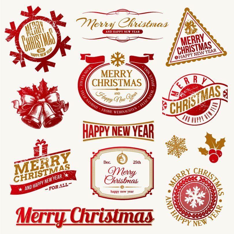 Merry Christmas Label Design Vector   Print!   Pinterest ...
