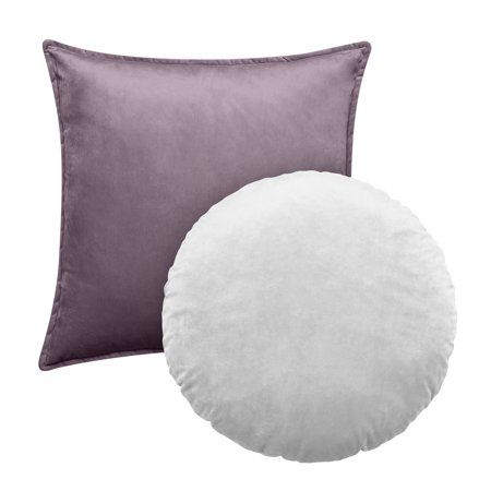 Better Homes & Gardens Feather Filled Velvet Square & Round Decorative Throw Pillow, Mauve & White, 2 Piece Set Size: 20 inchx20 inch + 18 inch,Better Homes & Gardens Feather Filled Velvet Square & Round Decorative Throw Pillow, Mauve & White, 2 Piece Set Size: 20inch x 20inch