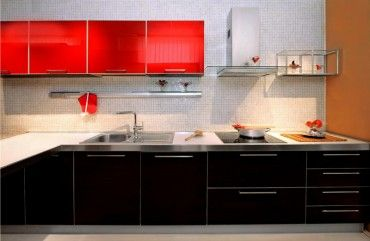 Wonderful Striking Modern Black And Red Kitchen