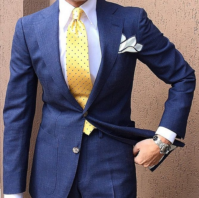 Wedding White Or Blue Shirt: Great Way To Accent The Tie With The Pocket Square