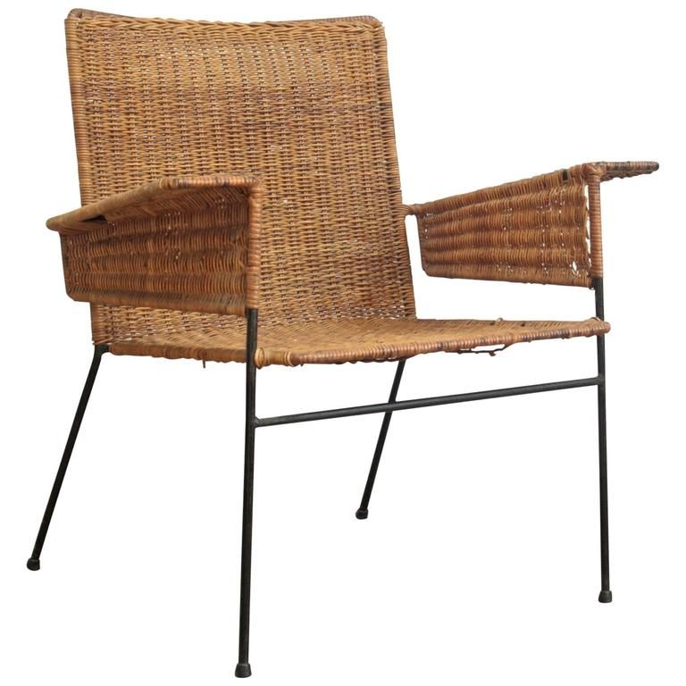 Van Keppel Green Wicker And Wrought Iron Chair From A Unique Collection Of Antique Modern Arm Furniture Outdoor Dining Cushions Chairs