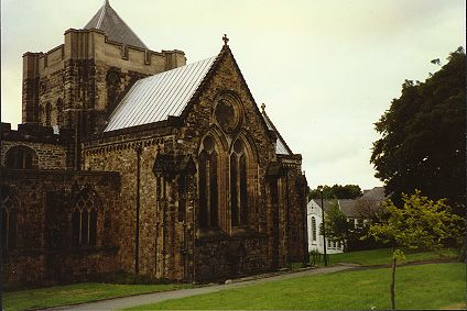 Medieval church. Carnarfon, Wales. Pic taken Aug 1989.