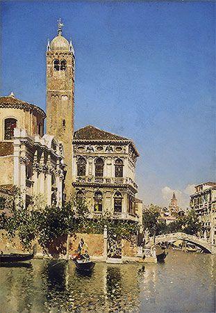 Title: A Venetian Canal Scene, undated Artist: Martin Rico y Ortega Medium: Canvas Art Print - Giclee