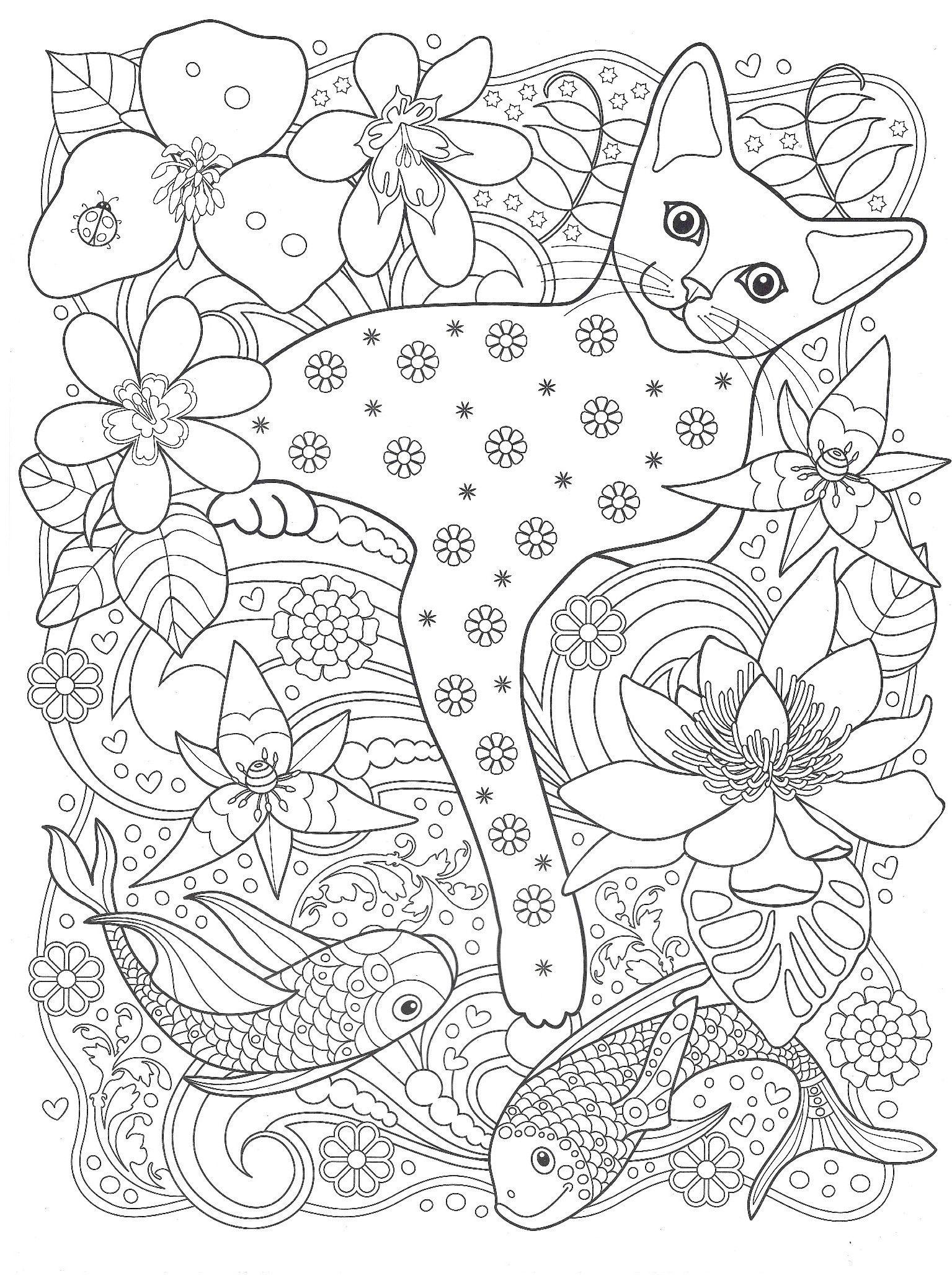 Раскраска антистресс коты в цвете