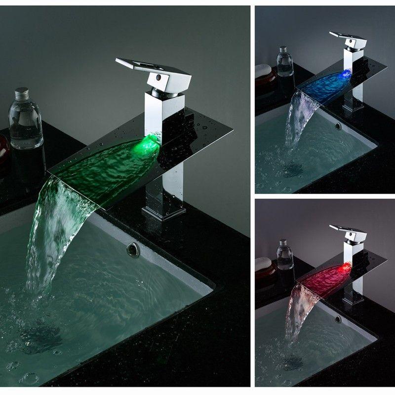 Koko LED Waterfall Single Hole Bathroom Faucet 7.25; 7; 4.25 $145 ...