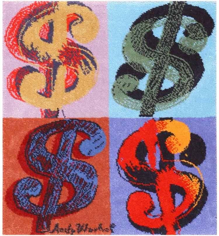 Vintage Dollar Signs Andy Warhol Rug 48422 Detail