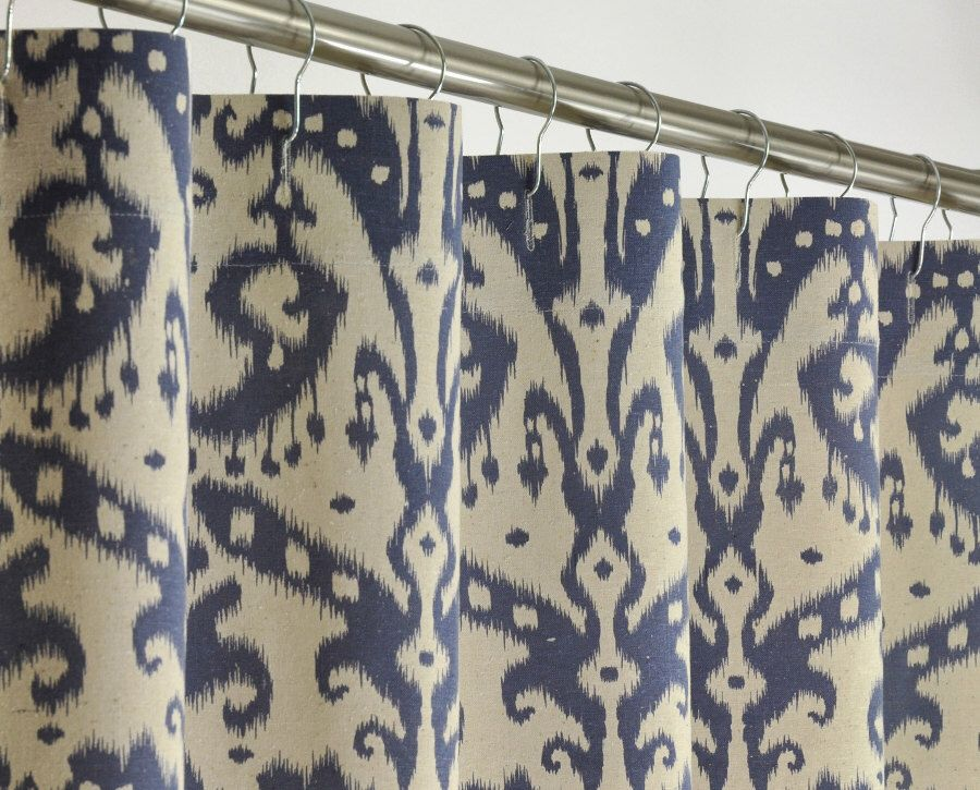 Navy Ikat Shower Curtain