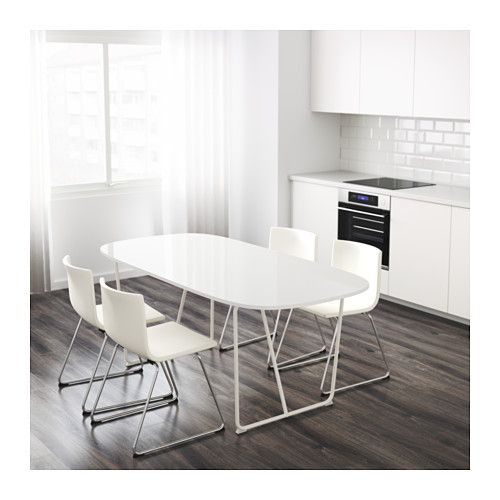 IKEA   OPPEBY, Table, Backaryd White , The High Gloss Surface Reflects  Light And Gives A Vibrant Look.The Table Top Has Pre Drilled Holes For The  Underframe ...
