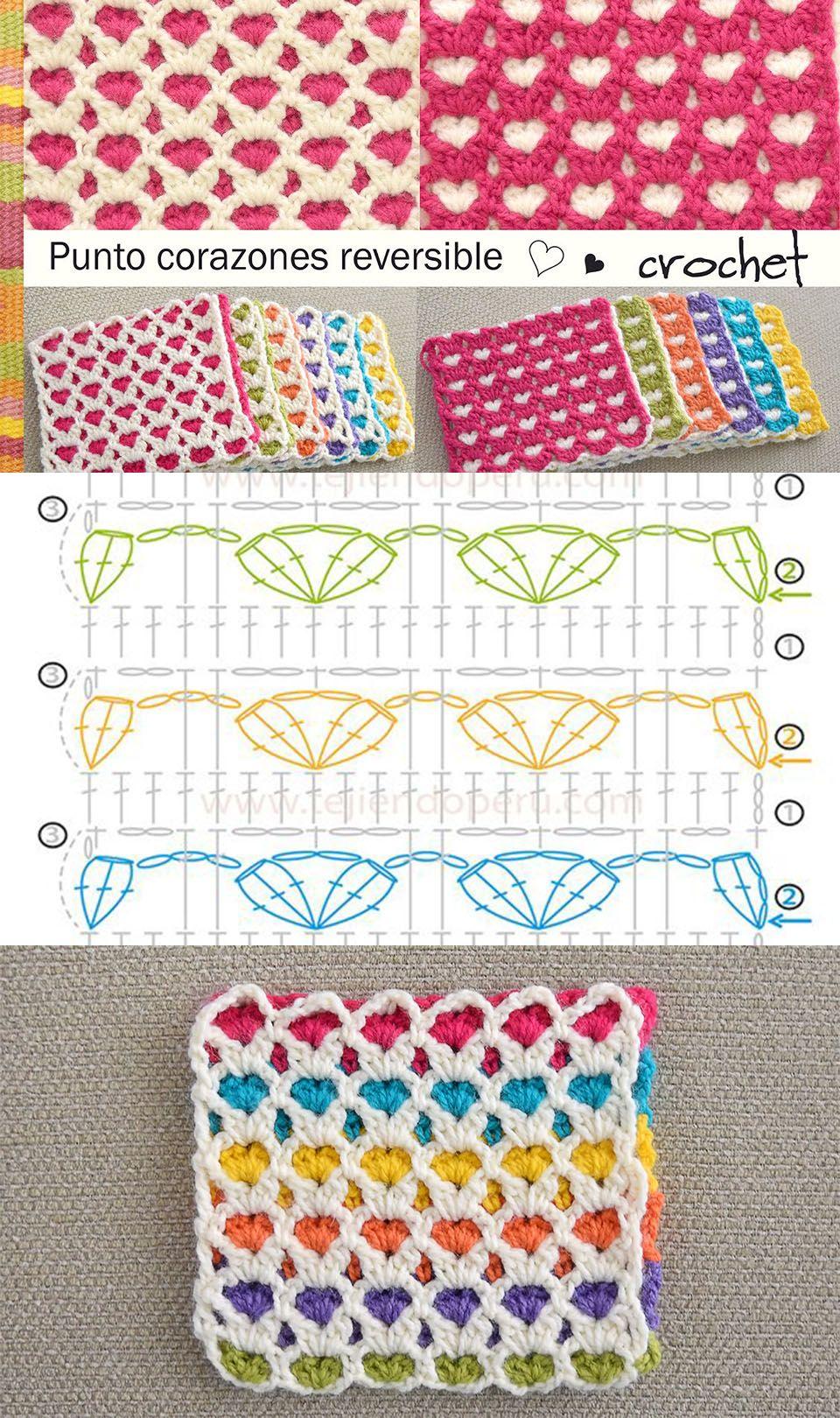 Heart Stitch Crochet Pattern Tutorial | Mantita bebe, Manta y Puntos ...