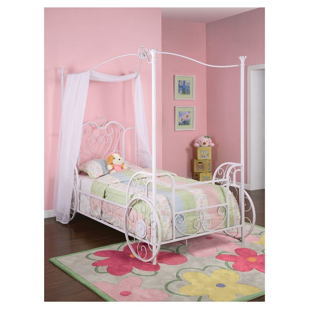 Kids Canopy Bed Metal White Powell Company Princess Carriage