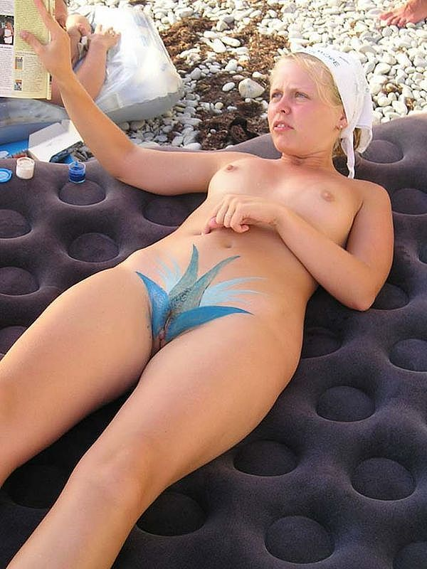 nude beach body paint
