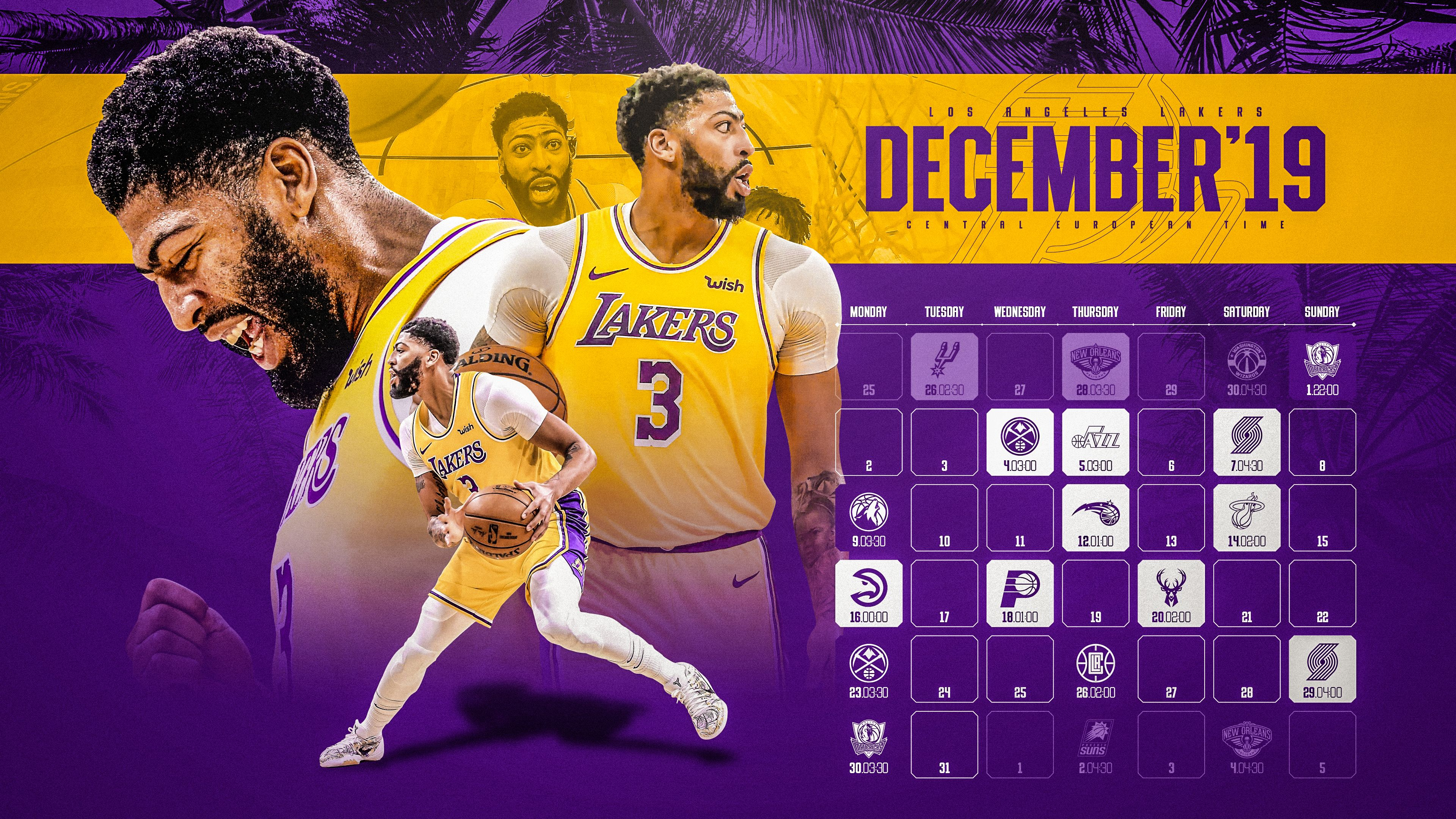 Schedule Wallpaper For The Los Angeles Lakers Regular Season 2019 20 Game Times Are Cet Made By Gergo Tobler Nba Schedule Schedule Design Los Angeles Lakers