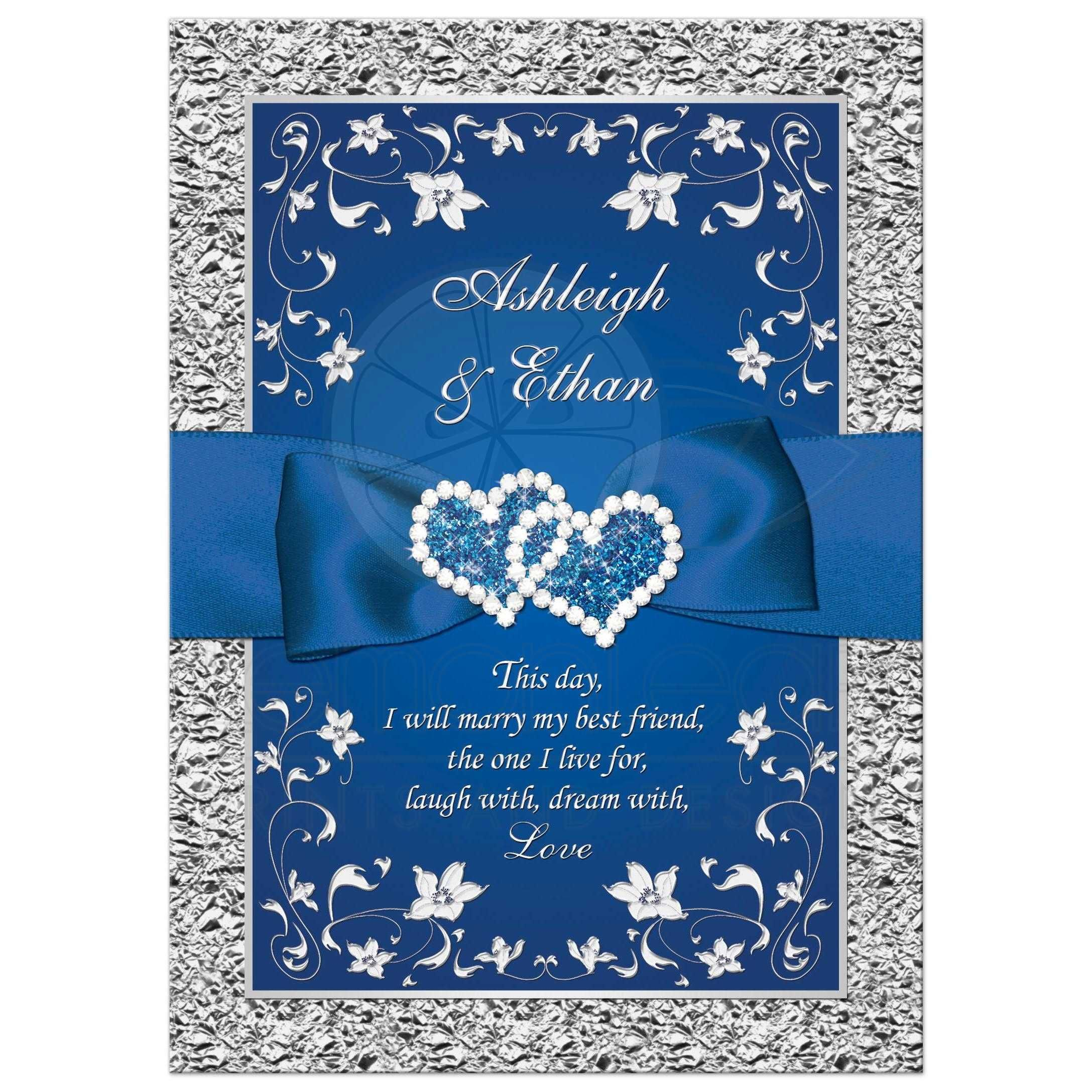 Royal Blue Wedding Invitation Faux Foil Silver Floral