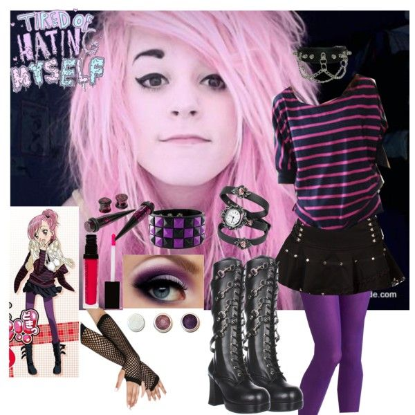 Anime Amu inspired outfit emo purple goth creepy cute by bites,and,kisses  on Polyvore featuring polyvore, moda, style, Maymaylu Dreams, tabbisocks,  Demonia,