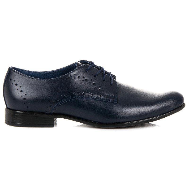Polbuty Meskie Lucca Niebieskie Granatowe Eleganckie Buty Lucca Dress Shoes Men Oxford Shoes Men Dress