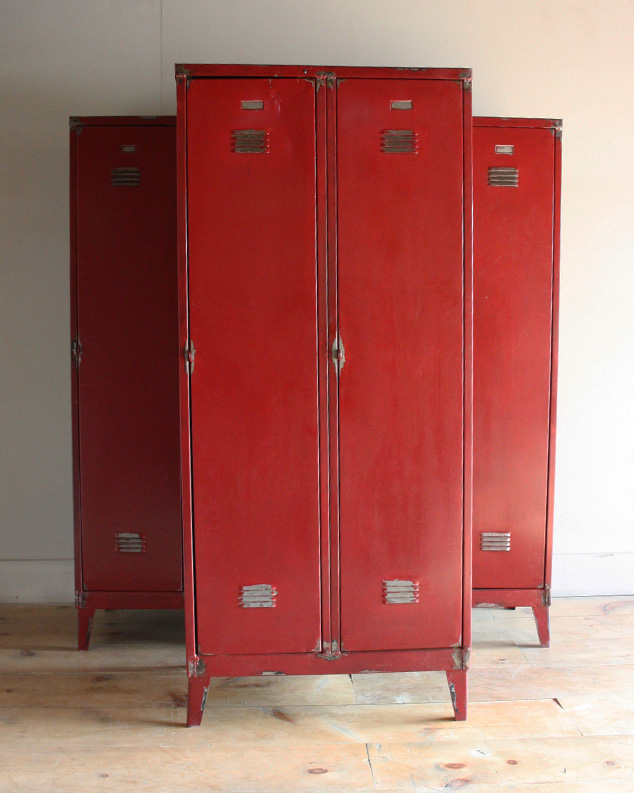 Sourced From A Industrial Factory In Czech Republic. These Three Classic  Red Coloured Metal Lockers Are In Great Condition, Bar A Few Dents And  Scrapes.