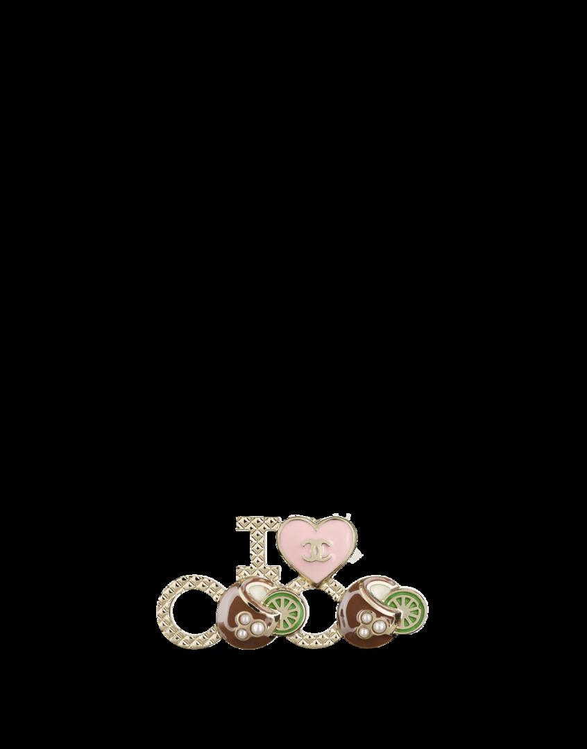 Broche, métal, résine & perles fantaisie-doré, marron & rose - CHANEL