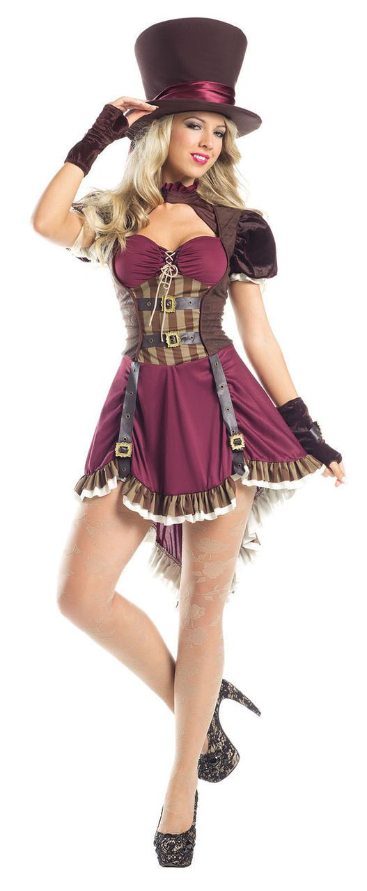 Attractive Be Wicked Steampunk Mad Hatter Costume Womens Sexy Burgundy Fancy Dress