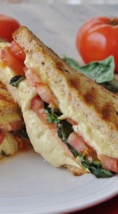 Vegan Tomato Basil Grilled Cheese Sandwich