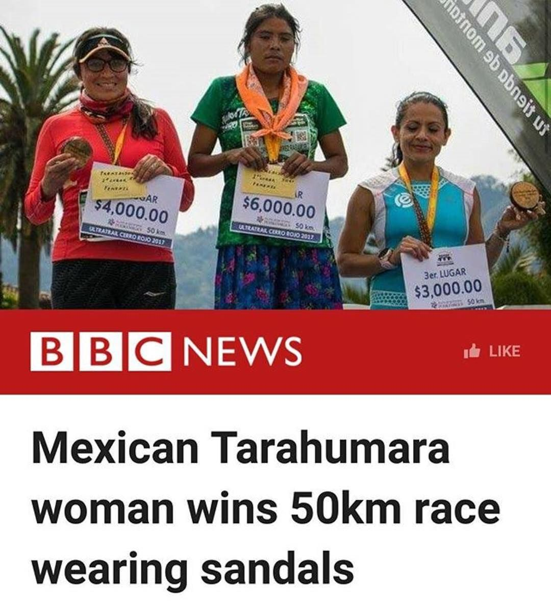 """""""A 22-year-old woman from Mexico's Tarahumara indigenous community has won a 50km (31 miles) ultramarathon wearing sandals.  María Lorena Ramírez defeated 500 other runners from 12 countries in the female category of the Ultra Trail Cerro Rojo in Puebla in central Mexico.  She ran without any professional gear and her pair of sandals was reportedly made from recycled tyre rubber.  The Tarahumara are famous for being excellent runners.  The race was held on 29 April but only now has word…"""
